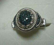 Blue & White Diamond Ring SZ.6  58 diamonds .48tcw  MSRP$939