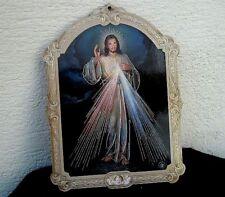 Plaque de porte imitation bois Jésus Miséricordieux  14 cm x 10 cm