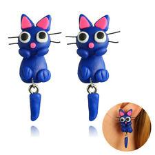 Animal arcilla polimérica azul Pendientes botón gato joyería Aretes Navidad