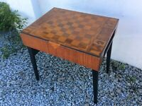 Beautiful Vintage Handmade Marquetry Chess Board Table With Fold Out Legs.