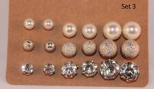 Damen Ohrringe Ohrstecker Perle Kugeln Kristalle im 9er Set Neu