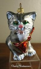 Kurt S. Adler Polonaise Green-Eyed Cat Blown Glass Christmas Ornament