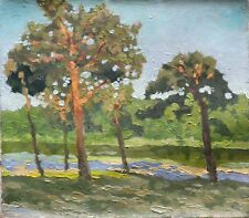 Original Russian oil on canvas USSR Socialist realism Painting Landscape 2007