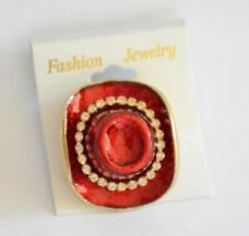 Red Cowboy Hat Pin / Brooch / Gold-tone Set / Red Hat Society Lady