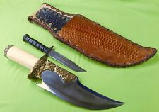 RARE Custom Hand Made George HALE Bowie  HUGE Heavy Brass Hunting Knife & Sheath