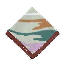 Kiton Napoli Green-Brown-Pink Abstract Watercolor Print Silk Pocket Square