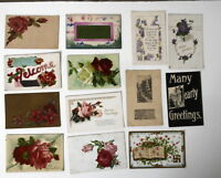 LOT OF 25 GREETINGS ANTIQUE  POSTCARDS BEST WISHES FLOWERS ROSES BEE  ETC