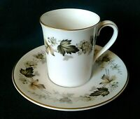 ROYAL DOULTON LARCHMONT CUP & SAUCER BONE CHINA COFFEE DUO GREEN & BROWN LEAVES
