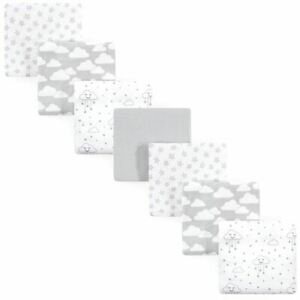 Hudson Baby Flannel Receiving Blankets, Gray Clouds, 7-Pack