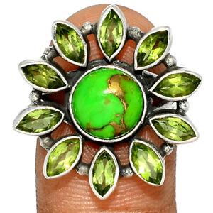 Copper Green Turquoise, Arizona & Peridot 925 Silver Ring Jewelry s.7 BR74589