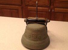 "Vintage Brass Bell Switzerland Intact LOUD Floral Flowers 5"" Tall 6.5"" D OUtdoor"