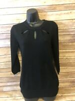Sioni Pullover Sweater Size Small Womens Black Keyhole 3/4 Sleeve Top Shirt