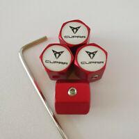 SEAT CUPRA Matte Red Locking Anti Theft Wheel Valve Dust caps all models
