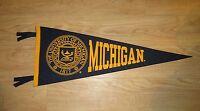 "Vintage 1960's 1970's University of Michigan Football Pennant  large 29"" Felt"