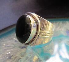 anillo ónix negro piedra de signo zodíaco Aries Plata Esterlina 925 cinta