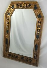 Vintage Italian Neo Classical Black And Gold Large Trumeau Mantel Wall Mirror
