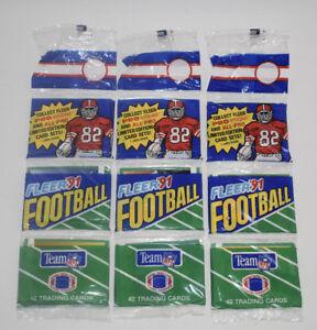 Lot of 3 Fleer 1991 NFL Football Trading Card Rack Packs