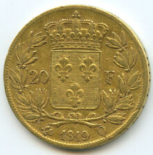 Louis XVIII 20 Francs Gold IN The Bust Nude 1819 Q Perpignan
