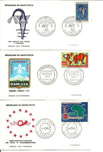 3 First Day Covers Haute Volta (Burkina Faso) 1967.Ouagadougou.Lot 2.
