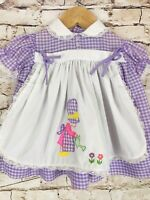 Vintage Purple Gingham Lace Apron Frilly Baby Dress Girl Flowers Applique 6-12mo