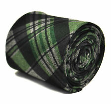 Frederick Thomas navy blue and green check tweed tie FT2142 100% wool RRP£19.99