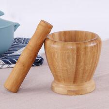 Pestle Mortar Garlic Press Home Kitchenware Natural Bamboo Bowl Masher