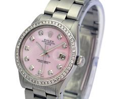 Womens Rolex Oyster Perpetual Date Pink MOP Diamond Dial  Bezel 34mm Watch