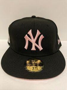 NY Yankees New Era Hat 1952 World Series Patch Black Hat Pink Brim Size 7 3/4