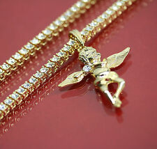 """14k Gold Plated Angel Side Stone Charm Pendant 20"""" 5mm 1 Row Tennis Necklace"""