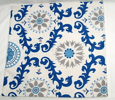 Calitime Decorative Throw Pillow Cover Blue White Floral Scrolls Square 19""
