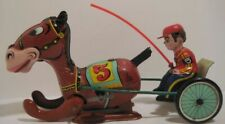 Old Tin Wind Up Comical Horse & Jockey Toy by Mikuni Japan 1950s