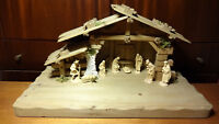 "✟ VINTAGE 3"" ANRI WOOD CARVED KUOLT NATIVITY SET SCENE HOLY FAMILY + 5 FIGURES ✟"
