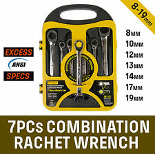 7 Piece Gear Wrench Ratchet Open End Combination Spanner Set Metric 8-19MM