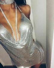 Women Halter Sequined Dress Ladies Choker Slip Cocktail Mini Plunge Chain Dress