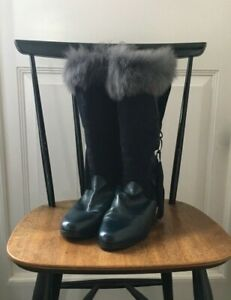 Vintage Italian Leather Boots Branded UK Size 6 Navy Blue VGC