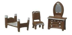 Dolls House Plastic Bedroom Furniture Set Suite 1:48 Scale Falcon Miniature