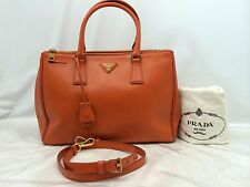Auth Prada Saffiano Leather Killer Shoulder Tote Bag Orange 6F140200""