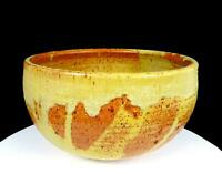 """STUDIO ART POTTERY ARTIST SIGNED TAN & BROWN SPECKLED LARGE STONEWARE 10"""" BOWL"""