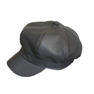 Men Women Leather Octagonal Baker Cap Gatsby Newsboy Casquette Peaked Cabbie Hat
