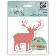 """4x4 NATALE """"nel paese-Stag Papermania Urban aggrapparsi RUBBER STAMP Craft"""