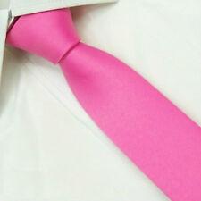 Man's D.berite Pink 100% Silk Necktie Wedding Groom Solid Skinny Slim Tie SK17
