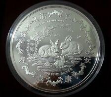 2011 Singapore Mint Lunar Year of the Rabbit 1Kg 999 Fine Silver Medallion