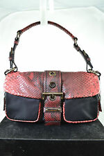 PRADA RED SNAKESKIN/ BLACK NYLON BUCKLE FLAP SHOULDER BAG