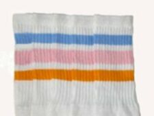 """22"""" KNEE HIGH WHITE tube socks w/ BABY BLUE/BABY PINK/GOLD style 1 (22-21)"""