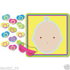 1 Baby Shower Party Game Ice Breaker PIN THE PACIFIER ON THE BABY for 12 Guests
