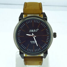 Men's Luxury Black Faced Sports Analog Quartz Brown Leather Band Wrist Watch.