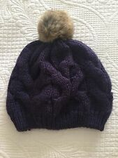 Purple Knitted Ladies Beanie With Faux Fur Pom Pom One Size