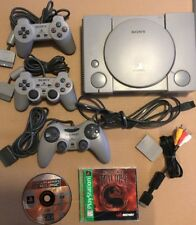 Sony Playstation PS1 Console w Cables 3 Controllers 1 Memory Card 2 Game Discs