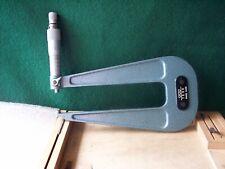 """TESA 0-25mm Deep Throat Micrometer. .01mm Graduation. 6""""/152mm Throat. Lock."""