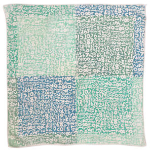 "Vtg VERA NEUMANN ""Numbers"" Print Cotton 19"" Square Scarf Bandana Blue Aqua Green"